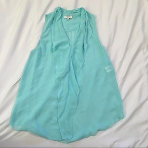 BABATON blue silk sleeveless top
